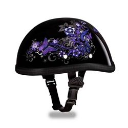 Premium Novelty Motorcycle Helmet: Purple Butterfly