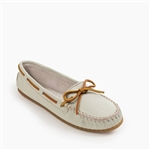 White Leather Boat Moccasin - Minnetonka 611S