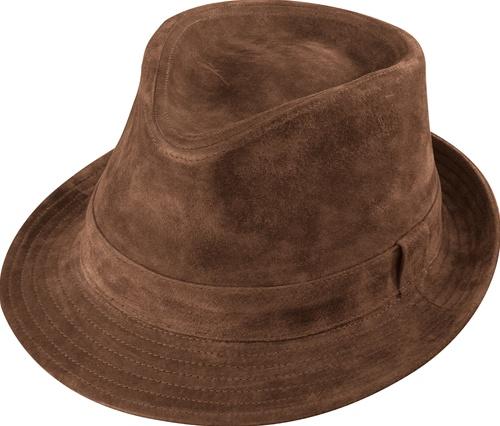 Men s Leather Hats - Henschel Brown Suede Fedora Hat - Leather Bound ... 3829eff93c3