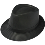 Henschel Black Fedora Mens Leather Hat