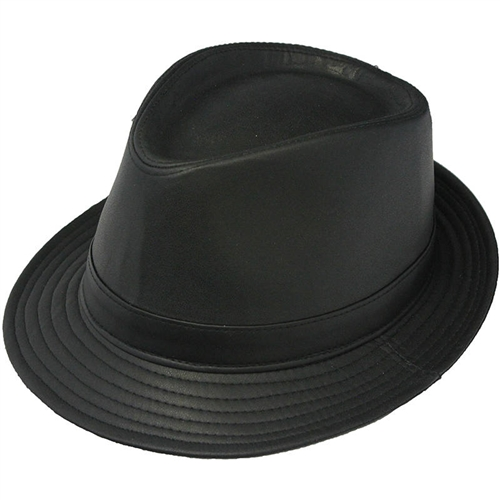 9559ac3ab3ca7 Henschel Black Fedora Mens Leather Hat