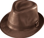 Men's Leather Hats - Brown Fedora