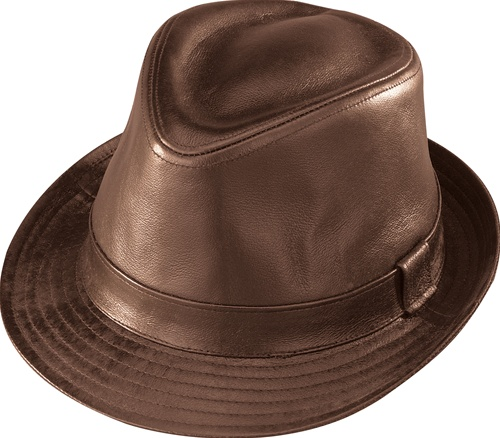Men s Leather Hats - Brown Fedora - Leather Bound Online 65d0195a0a6