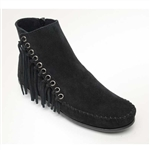 Minnetonka Suede Boots: Willow Black Fringe