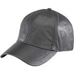Black Leather Baseball Hat