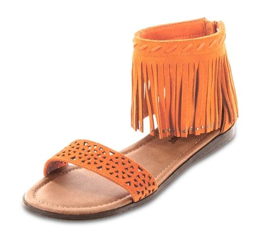 Minnetonka Sandals Nectarine Fringe Quot Malibu Quot Leather