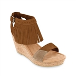 Minnetonka Women's Poppy Fringed Ankle Strap Sandal