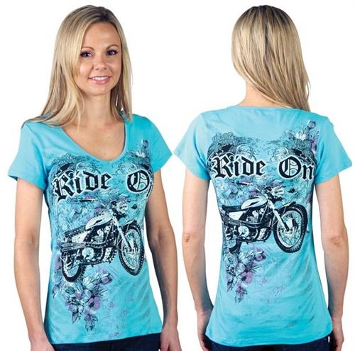 Women S Biker Clothing Bling Motorcycle T Shirt
