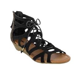 Minnetonka Merida Black Gladiator Sandal Leather Bound