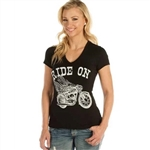 Women's Biker T-Shirt: Ride On Bling Liberty Wear