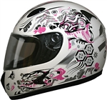 Womens Full Face Motorcycle Helmet: Pink Dragon