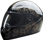 Black Screaming Skull Motorcycle Helmet: Full Face
