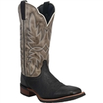 Laredo Blakc & Gray Leather Western Boots: Issac