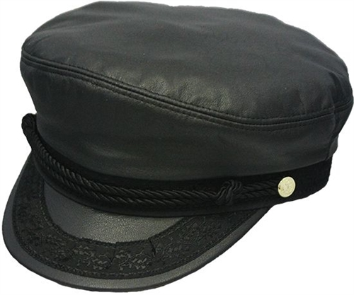 80b973a6 Black Leather Greek Fisherman Hat: USA Made by Henschel