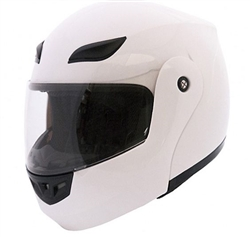 Full Face Flip Up Motorcycle Helmets Gloss White