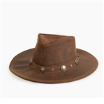 Leather Cowboy Hats - Minnetonka Buffalo Nickel Brown Western Hat