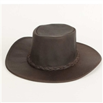 "Leather Cowboy Hats - Minnetonka Brown ""Fold Up"" Hat"