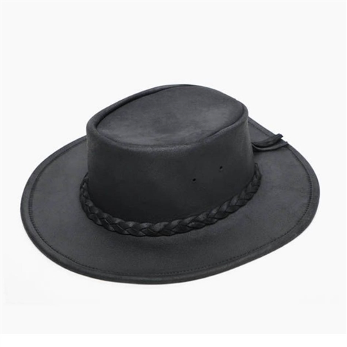 1e97df8c45d Minnetonka Black Leather Cowboy Hats - Fold Up Packable Hat