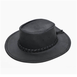"Minnetonka Cowboy Hats: Black ""Fold Up"" Leather"