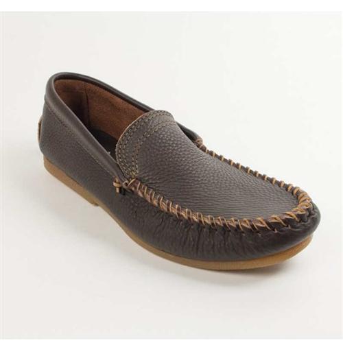 Minnetonka Slip-On Brown Leather Moccasins