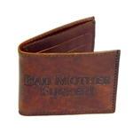 Brown Leather Wallets With Bad Mother Fucker