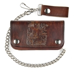 Antique Brown Leather Chain Wallet: Deer Scene