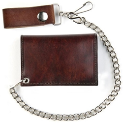 Biker Antique Brown Leather Biker Chain Wallet