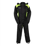 Ladies Motorcycle Rain Gear Suit, Black & Neon, Atrox