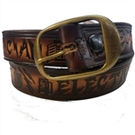 Men's Leather Electrician Print Belt: USA Made Cowhide