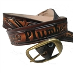 Genuine Leather Plumber Print Belt, USA Made