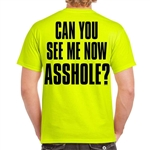 Men's Biker T-Shirts: Neon Green Can You See Me Now
