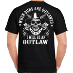 Men's Biker T-Shirts: Outlaw Guns & Skull