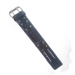 Distressed Retro Black Leather Wide Watch Band