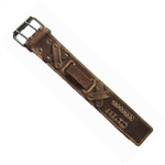 Distressed Retro Brown Leather Wide Watch Band