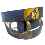 Men's Leather Belts: American Made Wolf Pattern