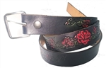 Red Rose Embossesd Leather Belts: American Made