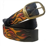 Cowhide Leather Belt Removable Buckle: Embossed Flames