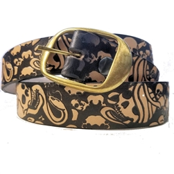 Men's Cowhide Leather Belts: Skull Print