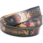 Custom Leather Fire Fighter Embossed Belt: American Made Cowhide
