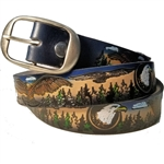 Leather Fancy Eagle Print Belts, Genuine Custom Cowhide USA