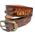 Embossed Genuine Leather Fishing Belt, Brown, USA Made