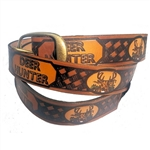 Deer Hunter Embossed Leather Belt, USA Made Cowhide