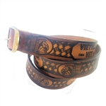 Embossed Leather Vietnam Vet Belt: American Made Cowhide