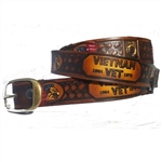 Brown Leather Vietnam Vet Belt: USA Made Embossed Cowhide