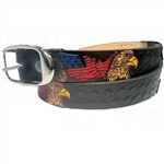 Custom Leather USA Flag & Eagle Print Belt