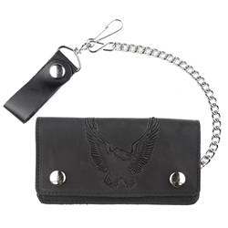 Oil Tanned Leather Biker Chain Wallet: 6inch Eagle
