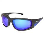 Padded Motorcycle Glasses - Blue Revo Lens