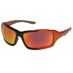 Padded Motorcycle Sunglasses - Orange Revo Lens