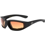 Choppers Padded Motorcycle Glasses - Amber Lens