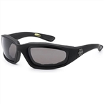 Padded Motorcycle Riding Glasses - Smoke Lens